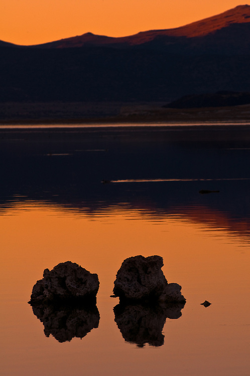 Sunset over Mono Lake in the Eastern Sierra Nevada, California. The depth of Mono Lake has significantly dropped in the last 50 years, various groups are working to protect this valuable landmark.