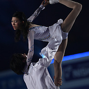 TOKYO - MARCH 25: Qing Pang and Jian Tong of China performs in an exhibition program during at the World Figure Skating Championships at the Tokyo Gymnasium on March 25, 2007 in Tokyo, Japan. (Photo by Andrew T. Malana)..
