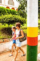 Poste decorado com as cores da cidade. Saudades, Santa Catarina, Brasil. / <br /> Post decorated with the city colors. Saudades, Santa Catarina, Brazil.