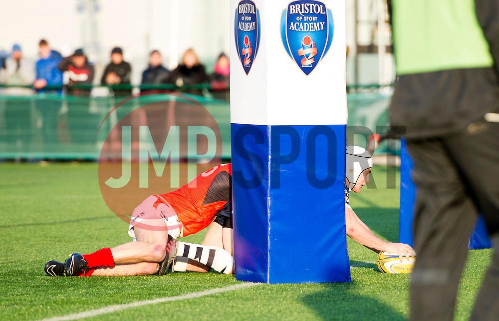 Iwan Hughes (SGS College) of Bristol Rugby Academy U18 scores a try - Mandatory by-line: Paul Knight/JMP - 21/01/2017 - RUGBY - SGS Wise Campus - Bristol, England - Bristol Academy U18 v Saracens Academy U18 - Premiership Rugby Academy U18 League