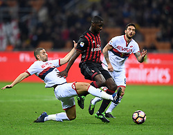 MILAN, March 19, 2017  AC Milan's Christian Zapata (C) competes during a Serie A soccer match between AC Milan and Genoa, in Milan, Italy, March 18, 2017. AC Milan won 1-0. (Credit Image: © Alberto Lingria/Xinhua via ZUMA Wire)