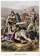 Death of Saul and his armour bearer in battle with the Philistines. Rather than be captured, they fell on their swords. 'Bible' I Chronicles. Chromolithograph by J.M. Kronheim & Co c1870