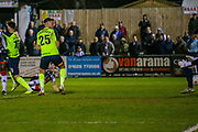 Goal Maidenhead United midfielder Ryan Upward scores a goal 1-0 during the Vanarama National League match between Maidenhead United and Havant & Waterlooville FC at York Road, Maidenhead, United Kingdom on 26 March 2019.