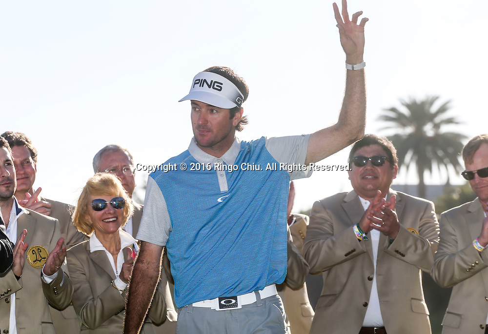 Bubba Watson waves after winning on the final round of the PGA Tour Northern Trust Open golf tournament at Riviera Country Club on February 21, 2016, in Los Angeles. Bubba Watson won the Northern Trust Open.(Photo by Ringo Chiu/PHOTOFORMULA.com)<br /> <br /> Usage Notes: This content is intended for editorial use only. For other uses, additional clearances may be required.