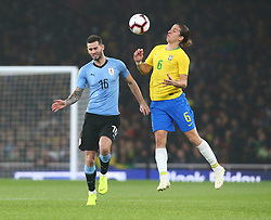 November 16, 2018 - London, England, United Kingdom - London, England - November 16, 2018.L-R Gaston Pereiro of Uruguay and Luis Filipe of Brazil .during Chevrolet Brazil Global Tour International Friendly between Brazil and Uruguay at Emirates stadium , Arsenal Football Club, England on 16 Nov 2018. (Credit Image: © Action Foto Sport/NurPhoto via ZUMA Press)