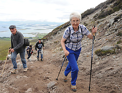 All in her stride for first time pilgrim May Gallagher from Bruree Limerick taking part in the annual pilgrimage to Croagh Patrick yesterday<br /> Pic Conor McKeown