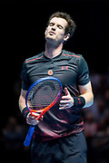 Andy Murray reacts to losing a point during the Andy Murray Live event at SSE Hydro, Glasgow, Scotland on 7 November 2017. Photo by Craig Doyle.