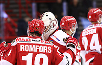 2019-12-08 | Ljungby, Sweden: Troja-Ljungby (19) Victor Romfors and Troja-Ljungby (36) Wictor Ragnewall get the win for Troja after penaltys during the game between IF Troja / Ljungby and Vimmerby HC at Ljungby Arena ( Photo by: Fredrik Sten | Swe Press Photo )<br /> <br /> Keywords: Ljungby, Icehockey, HockeyEttan, Ljungby Arena, IF Troja / Ljungby, Vimmerby HC, fstv191208, ATG HockeyEttan