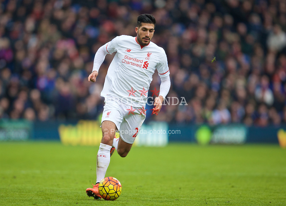 LONDON, ENGLAND - Sunday, March 6, 2016: Liverpool's Emre Can in action against Crystal Palace during the Premier League match at Selhurst Park. (Pic by David Rawcliffe/Propaganda)