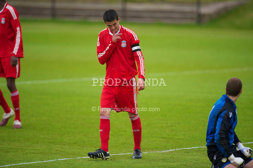 LIVERPOOL, ENGLAND - Thursday, April 29, 2010: Liverpool's captain Conor Coady celebrates scoring from the penalty spot against Leeds United during the FA Academy Under-18's League at the Academy. (Photo by David Rawcliffe/Propaganda)