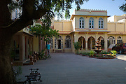 Rohet Garh fortress palace hotel inner courtyard and terrace Rohet, Rajasthan, India