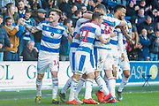 GOAL 4-0 Queens Park Rangers midfielder Massimo Luongo (21) scores and is mobbed by his teammates during the EFL Sky Bet Championship match between Queens Park Rangers and Swansea City at the Loftus Road Stadium, London, England on 13 April 2019.