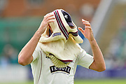 Tim Groenewald of Somerset putting his jumper on after bowling during the Specsavers County Champ Div 1 match between Somerset County Cricket Club and Worcestershire County Cricket Club at the Cooper Associates County Ground, Taunton, United Kingdom on 22 April 2018. Picture by Graham Hunt.