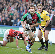 Twickenham, GREAT BRITAIN, Harlequins', Danny CARE, breaks Justin MARSHALL's tackle and run for the line to score a try during the  Guinness Premiership match,  Harlequins vs Saracens at The Stoop Stadium, Surrey on Sat. 07.03.2009.  [Photo. Peter Spurrier/Intersport-images]