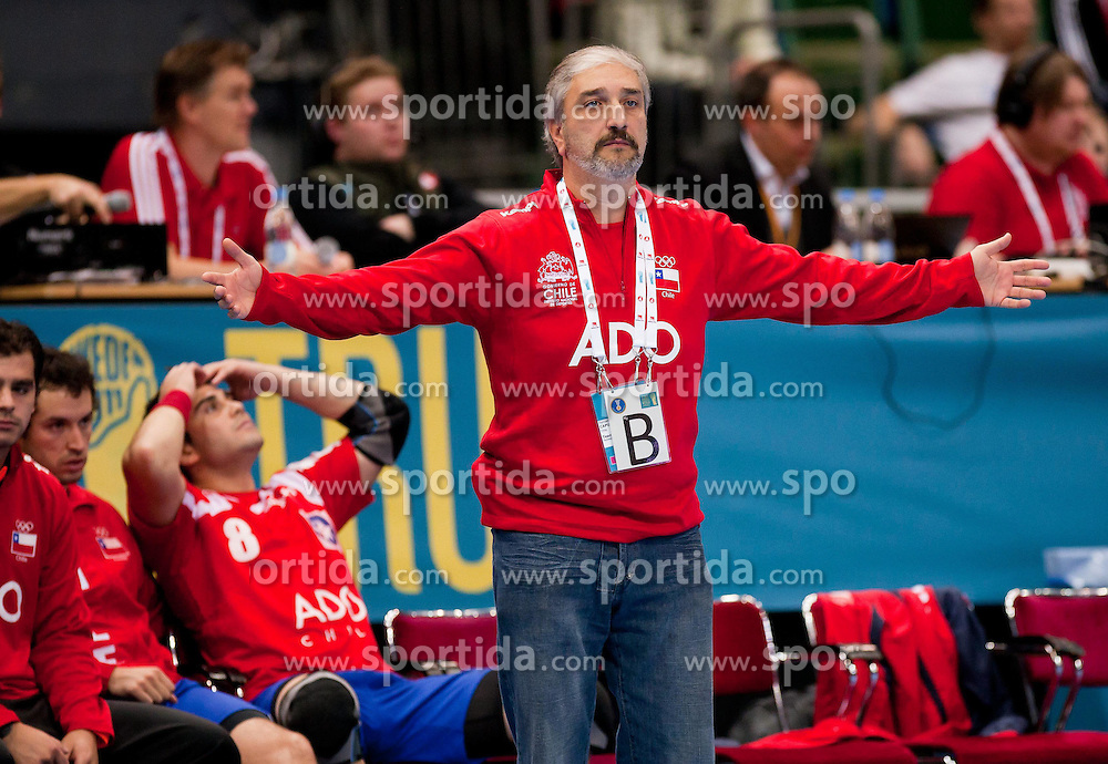 15.01.2011, Göteborg, SWE, IHF Handball Weltmeisterschaft 2011, Herren, Chile vs Korea im Bild, //  head coach of Chile gestures during the match // during the IHF 2011 World Men's Handball Championship match Chile vs Korea at Göteborg. EXPA Pictures © 2010, PhotoCredit: EXPA/ Skycam/ Per Friske +++ATTENTION+++ out of Sweden (SWE)