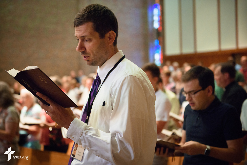 Nathan LeMahieu sings during Matins in the Chapel of Our Lord at the 2017 Institute on Liturgy, Preaching and Church Music on Wednesday, July 26, 2017, at Concordia University Chicago in River Forest, Ill. LCMS Communications/Erik M. Lunsford