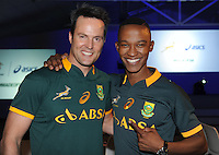 CAPE TOWN, SOUTH AFRICA - Thursday 24 April 2014, Dr Michael Mol and Katlego Maboe during the Asics launch of the new Springbok rugby jersey at The Lookout in the V&amp;A Waterfront<br /> Photo by Roger Sedres/ImageSA