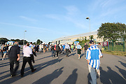 Fans walking from the station to the stadium before the EFL Sky Bet Championship match between Brighton and Hove Albion and Rotherham United at the American Express Community Stadium, Brighton and Hove, England on 16 August 2016.