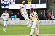 Wicket - Jack Brooks of Yorkshire celebrates taking the wicket of James Hildreth of Somerset during the third day of the Specsavers County Champ Div 1 match between Somerset County Cricket Club and Yorkshire County Cricket Club at the Cooper Associates County Ground, Taunton, United Kingdom on 29 April 2018. Picture by Graham Hunt.