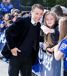 Former Everton & Manchester United player, Phil Neville arrives at Goodison Park - Photo mandatory by-line: Matt McNulty/JMP - Mobile: 07966 386802 - 26/04/2015 - SPORT - Football - Liverpool - Goodison Park - Everton v Manchester United - Barclays Premier League
