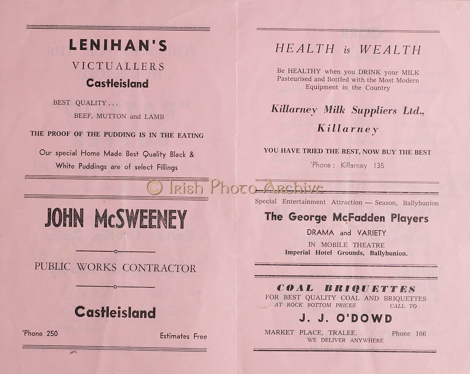 Munster Football Final Programme.14.07.1963  14th July 1963.Kerry v Cork.Fitzgerald Stadium, Killarney