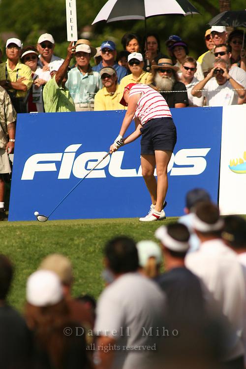 Feb 25, 2006; Kapolei, HI, USA; Morgan Pressel tees off during the final round at the inaugural LPGA Fields Open at Ko Olina Resort. ..Photo Credit: Darrell Miho .Copyright © 2006 Darrell Miho