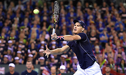 Grea Britain's Jamie Murray in action during day two of the Davis Cup match at Emirates Arena, Glasgow.