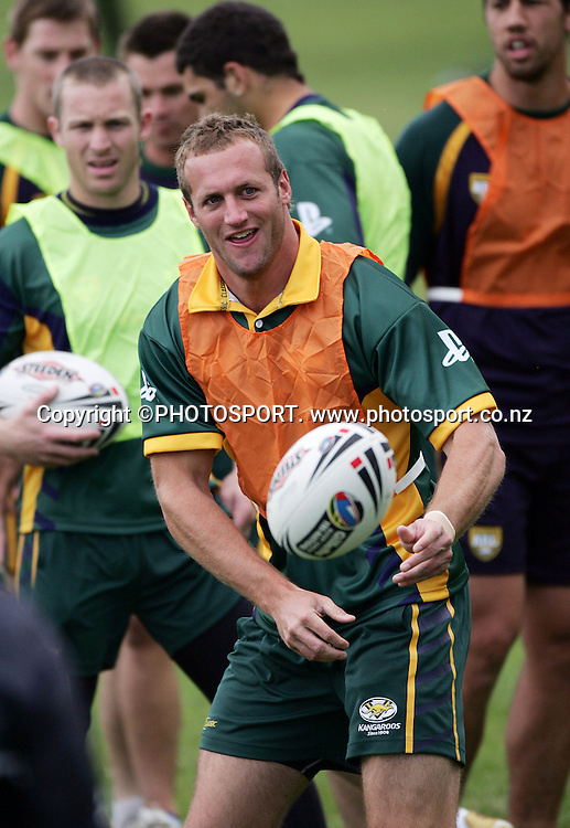 Mark Gasnier looks to pass during the Kangaroos training session held at Cornwall Park, Auckland, New Zealand, on Tuesday 10 October 2006. Photo: Andrew Cornaga/PHOTOSPORT<br />