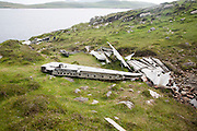 Wreckage at the Catalina plane crash site May 1944 on Vatersay island, Barra, Outer Hebrides, Scotland, UK