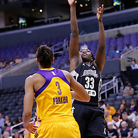 25 May 2014: San Antonio Stars forward Sophia Young-Malcolm (33) takes a jumpshot over Los Angeles Sparks forward/center Candace Parker (3) during the Los Angeles Sparks 83-62 victory over the San Antonio Stars, at the Staples Center, Los Angeles, California, USA.