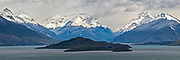 A panoramic (1x3 dimensions) of the view of Lake Wakatipu from Bennett's Bluff, halfway between Queenstown and Glenorchy, on the South Island of New Zealand.