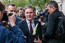 London, UK. 7 May, 2019. Shadow Secretary of State for Exiting the European Union Keir Starmer arrives at the Cabinet Office to attend continuing cross-party talks between representatives of the Government and the Labour Party.