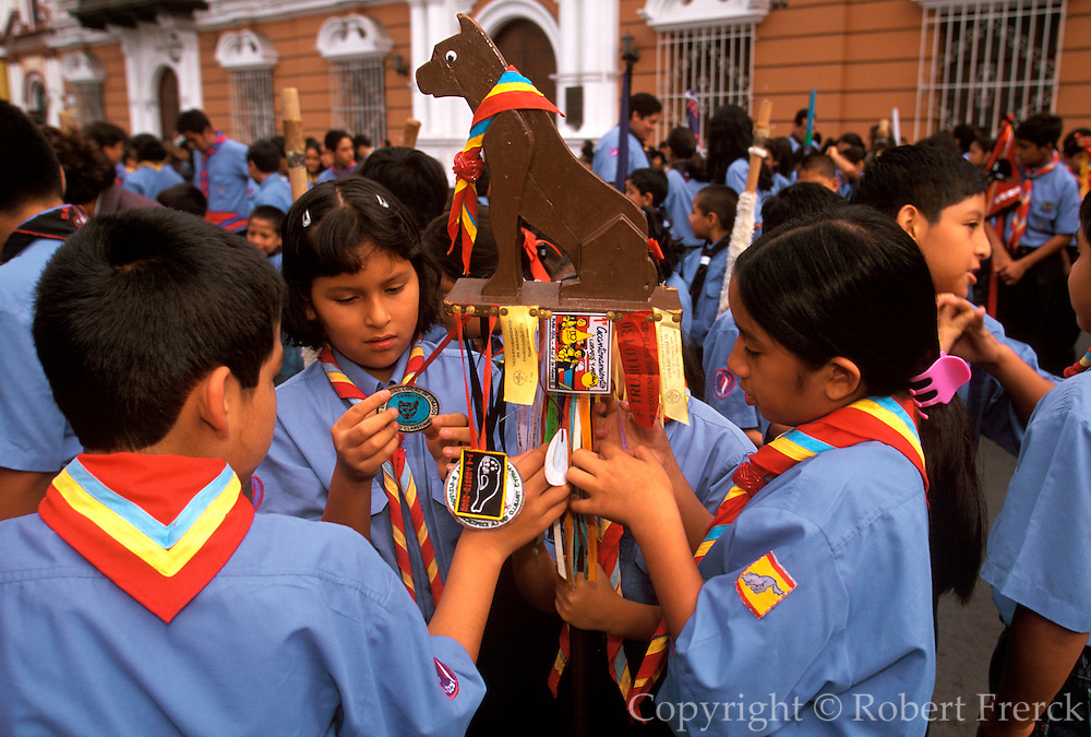 PERU, TRUJILLO, FESTIVALS Tribute to Flag Parade; scouts