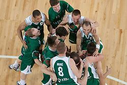 Team Krka celebrating after basketball match between KK Union Olimpija and KK Krka in 4nd Final match of Telemach Slovenian Champion League 2011/12, on May 24, 2012 in Arena Stozice, Ljubljana, Slovenia. Krka defeated Union Olimpija 65-55. (Photo by Grega Valancic / Sportida.com)