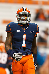 Oct 21, 2011; Syracuse NY, USA;  Syracuse Orange safety Phillip Thomas (1) warms up before the game against the West Virginia Mountaineers at the Carrier Dome.  Syracuse defeated West Virginia 49-23. Mandatory Credit: Jason O. Watson-US PRESSWIRE
