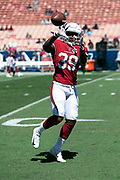Arizona Cardinals rookie cornerback Deatrick Nichols (39) catches a pass during pregame warmups before the 2018 NFL regular season week 2 football game against the Los Angeles Rams on Sunday, Sept. 16, 2018 in Los Angeles. The Rams won the game in a 34-0 shutout. (©Paul Anthony Spinelli)
