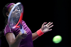 October 26, 2018 - Singapore - Sloane Stephens of the United States returns a shot during the match between Angelique Kerber and Sloane Stephens on day 6 of the WTA Finals at the Singapore Indoor Stadium. (Credit Image: © Paul Miller/ZUMA Wire)