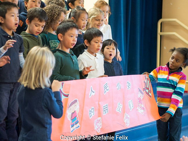 Beacon Hill International School class welcomes students and guests from sister school in China with a song at a special assembly