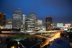 Houston, Texas skyline at night.