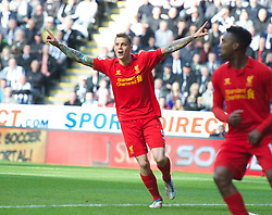 27.04.2013, St. James Park, Newcastle, ENG, Premier League, Newcastle United vs FC Liverpool, 35. Runde, im Bild Liverpool's Daniel Agger celebrates scoring the first goal against Newcastle United during the English Premier League 35th round match between Newcastle United and Liverpool FC at the St. James Park, Newcastle, Great Britain on 2013/04/27. EXPA Pictures © 2013, PhotoCredit: EXPA/ Propagandaphoto/ David Rawcliffe..***** ATTENTION - OUT OF ENG, GBR, UK *****