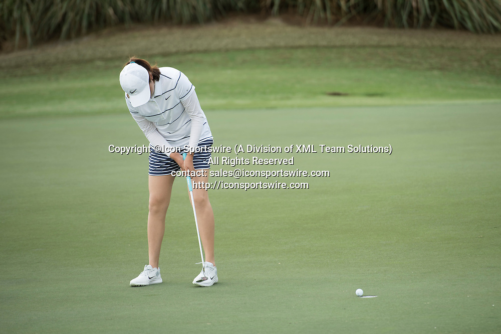 February 03, 2016: Ha Na Jang sinks a putt on hole 3 during the first round of the Coates Golf Championship in Ocala, FL. (Photograph by Roy K. Miller/Icon Sportswire)