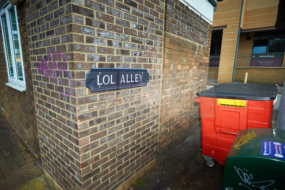 © Licensed to London News Pictures. 09/05/2018. OXFORD, UK.  Fake street signs, with a social media theme, have been appearing across Oxford including Tweet Close, Whatsapp Lane and LOL Alley. The flat plastic signs are carefully designed to look 3D just like the real thing and are thought to be the work of street artist Athirty4 (A34). The same artist is believe to have added Lord of the Rings,destinations to Didcot road signs a few months ago.   Photo credit: Cliff Hide/LNP