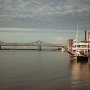 The Steamboat Natchez docked by the French Quarter on the Mississippi.