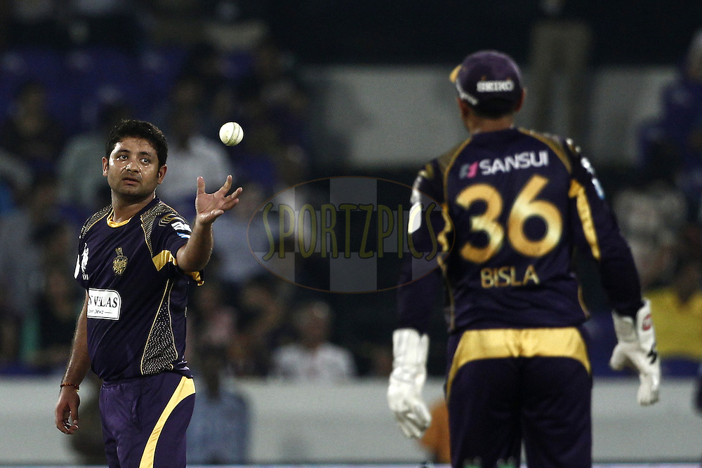 Piyush Chawla of the Kolkata Knight Riders  during match 1 of the Oppo Champions League Twenty20 between the Kolkata Knight Riders and the Chennai Superkings held at the Rajiv Gandhi Cricket Stadium, Hyderabad, India on the 17th September 2014<br /> <br /> Photo by:  Deepak Malik / Sportzpics/ CLT20<br /> <br /> <br /> Image use is subject to the terms and conditions as laid out by the BCCI/ CLT20.  The terms and conditions can be downloaded here:<br /> <br /> http://sportzpics.photoshelter.com/gallery/CLT20-Image-Terms-and-Conditions-2014/G0000IfNJn535VPU/C0000QhhKadWcjYs