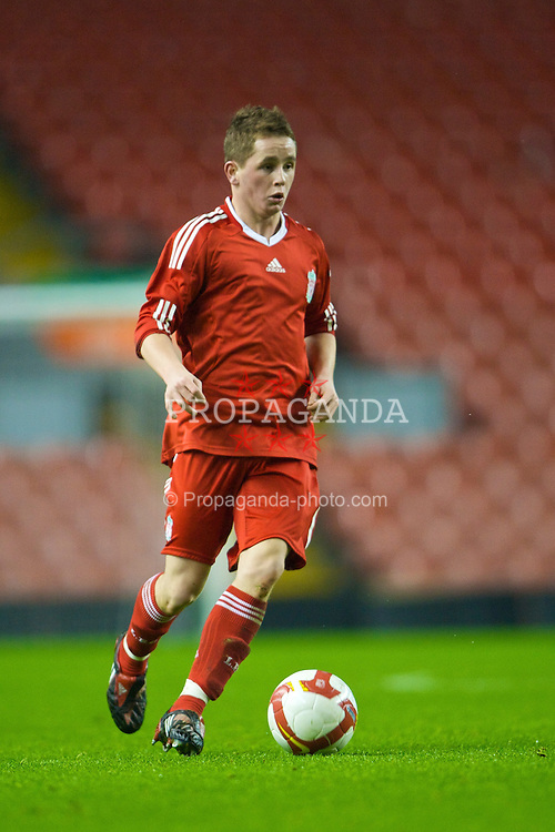 LIVERPOOL, ENGLAND - Thursday, February 5, 2009: Liverpool's David Pepper in action against Chelsea during the FA Youth Cup 5th Round match at Anfield. (Mandatory credit: David Rawcliffe/Propaganda)