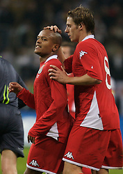 FRANKFURT, GERMANY - Wednesday, November 21, 2007: Wales' Robert Earnshaw and David Edwards rue a missed chance against Germany during the final UEFA Euro 2008 Qualifying Group D match at the Commerzbank Arena. (Pic by David Rawcliffe/Propaganda)