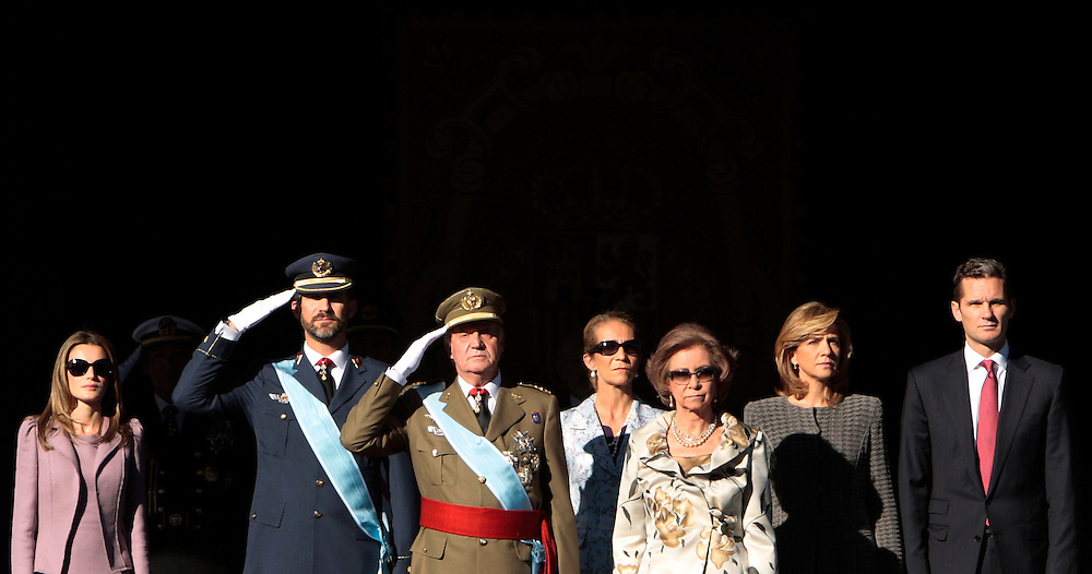 Left to right, Princess Letizia Ortiz, Prince Felipe,  Spain's King Juan Carlos, Princess Elena,  Queen Sofia, Princess Cristina and her husband Inaki Urdangarin watch a military parade, during the holiday known as Dia de la Hispanidad or Spain's National Day, in Madrid Monday, Oct. 12, 2009.