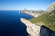 Cap de Formentor, Mirador Es Colomer. View towards the cape and Es Colomer island.