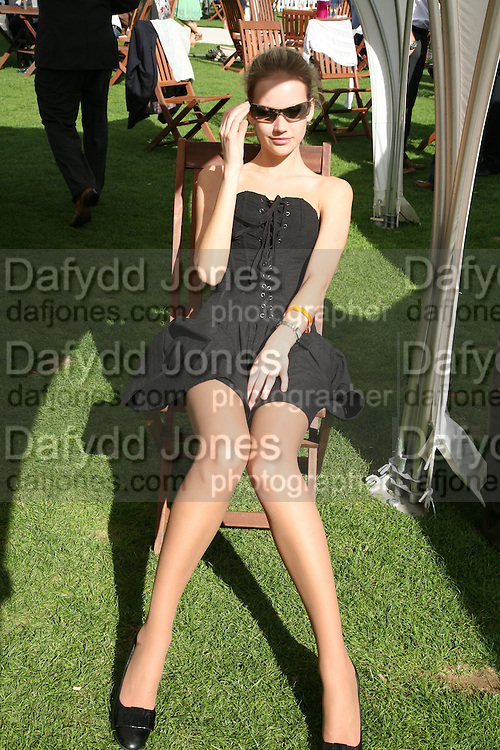 Tatiana Shamratova in the Chinawhite tent, Cartier International Polo. Guards Polo Club. Windsor Great Park. 29 July 2007.  -DO NOT ARCHIVE-© Copyright Photograph by Dafydd Jones. 248 Clapham Rd. London SW9 0PZ. Tel 0207 820 0771. www.dafjones.com.