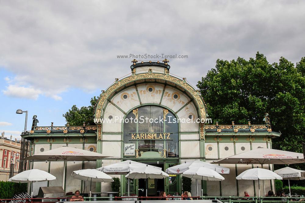 Austria, Vienna, Karlsplatz subway Station, Otto Wagner's Pavilion in Art Nouveau style